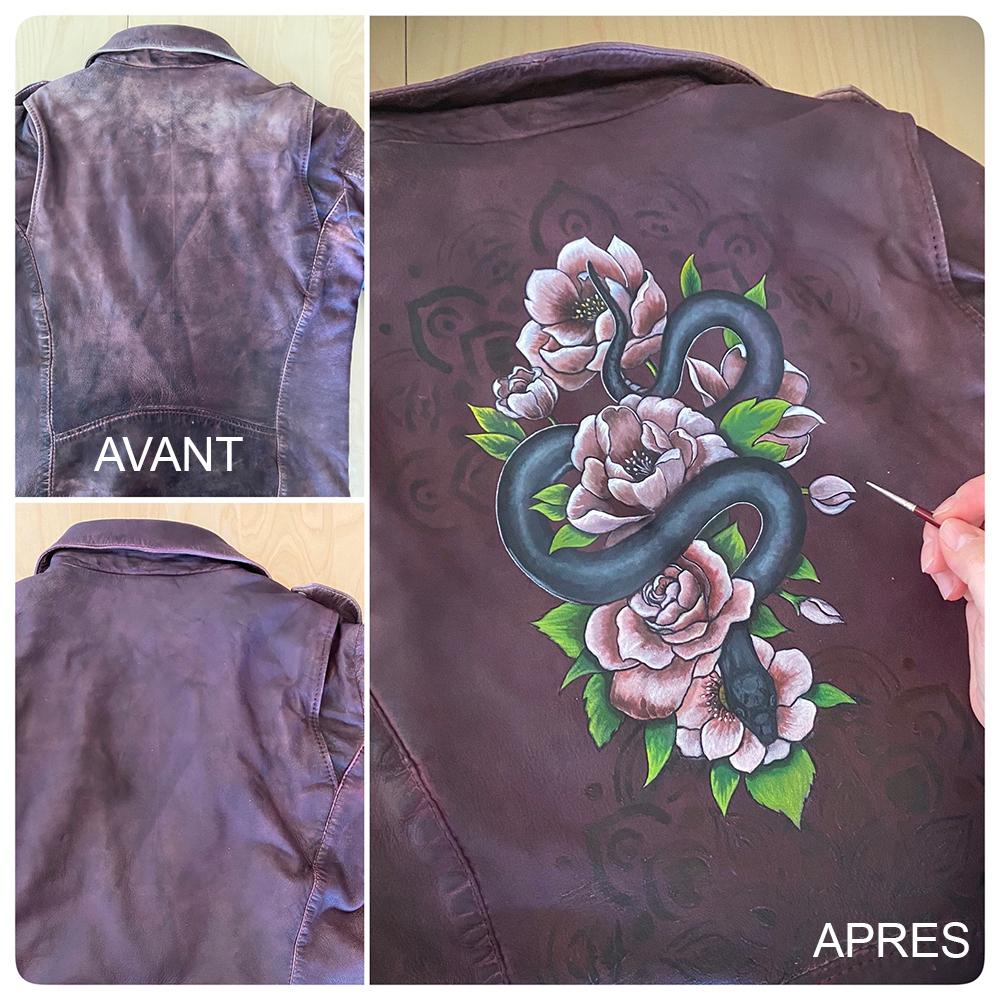 Flower Leather Jacket Purple